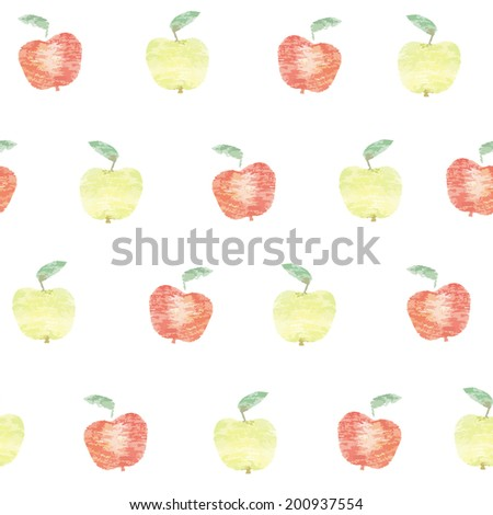 seamless pattern with apples. version vector drawing made with colored pensils - stock vector