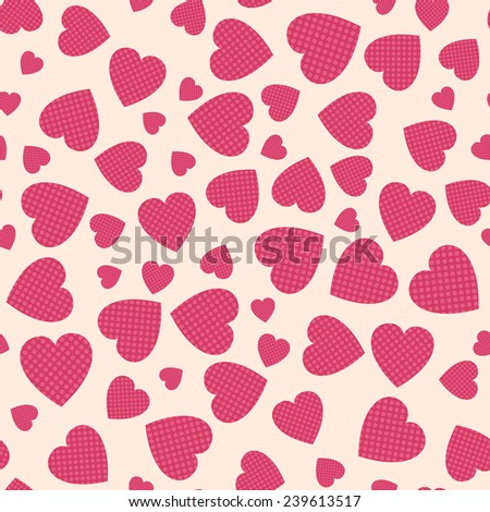 Seamless pattern with applique hearts. Vector background