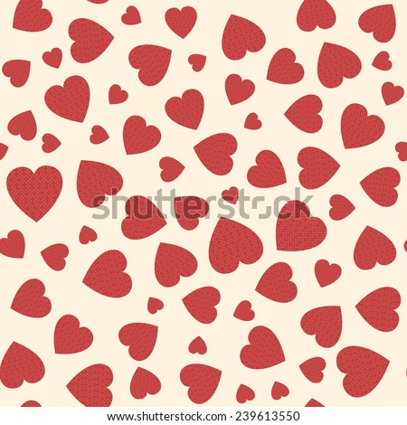 Seamless pattern with applique hearts. Vector background - stock vector