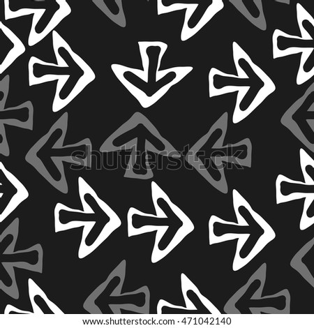 Seamless pattern with arrows , doodles,  object, sign,  , symbol, hole, spots,. Hand drawn.