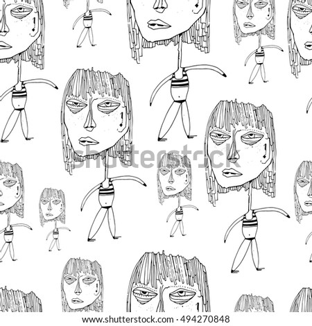 Seamless pattern with art character. Black and white. Stylish solution for textile design