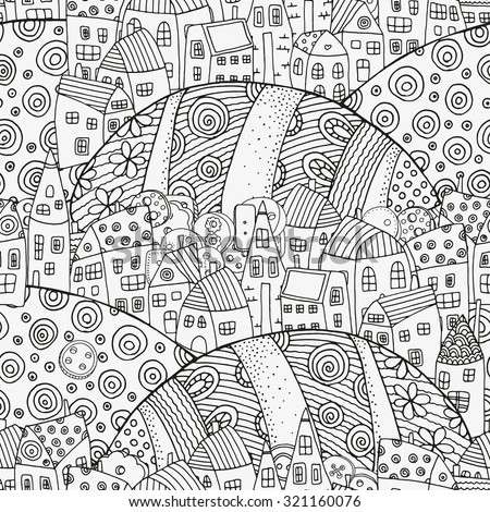 Seamless Pattern With Artistically Houses Magic City Fields Landscape For Coloring