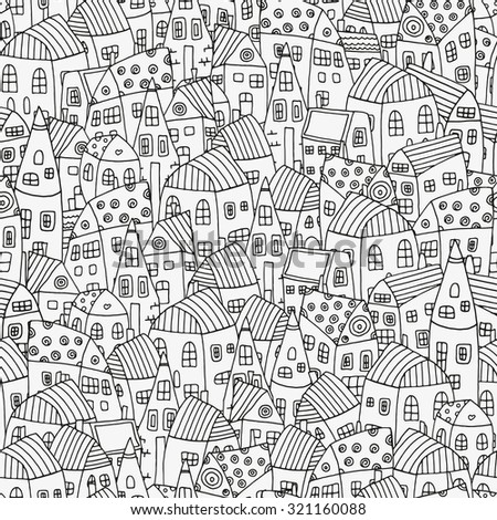 Seamless pattern with artistically houses. Magic City. Street background. Pattern for coloring book. Made by trace from sketch. Ink pen. Zentangle. Black and white pattern in vector. - stock vector