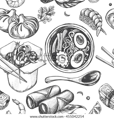 Seamless pattern with asian food. Vector illustration.
