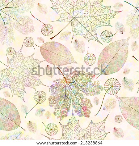 Seamless pattern with autumn colored leaves. Vector illustration, EPS 10  - stock vector