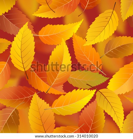 Seamless pattern with autumn falling leaves, vector illustration - stock vector