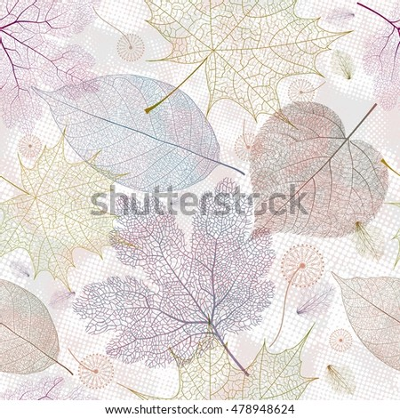 Seamless pattern with autumn leaves, colorful leaf background texture. Vector illustration.