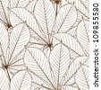 Seamless pattern with autumn leaves in a retro style. - stock photo