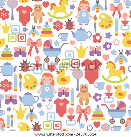 seamless pattern with baby icons - stock vector