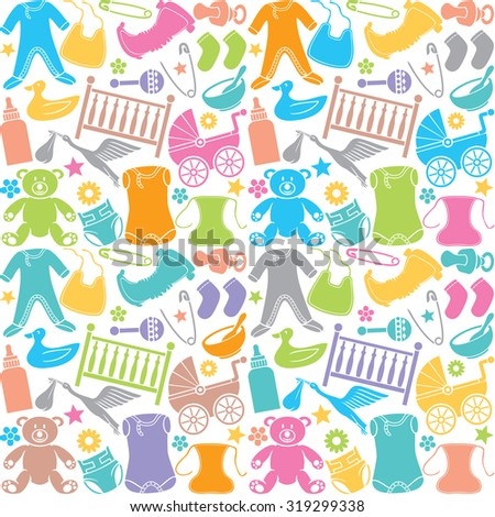 seamless pattern with baby icons (seamless pattern with baby elements) - stock vector