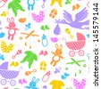 seamless pattern with baby items - stock vector