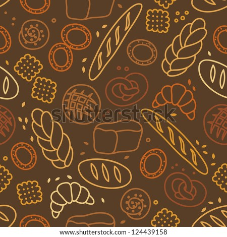 Seamless pattern with bakery products - stock vector