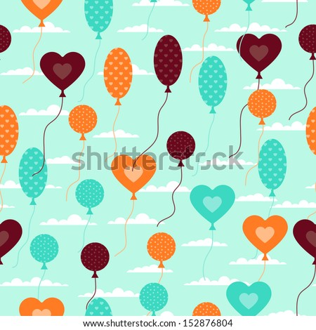 Seamless pattern with balloons in retro style.