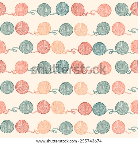 Seamless pattern with balls of yarn. Background in cartoon style. Simple graphics. Vector. - stock vector