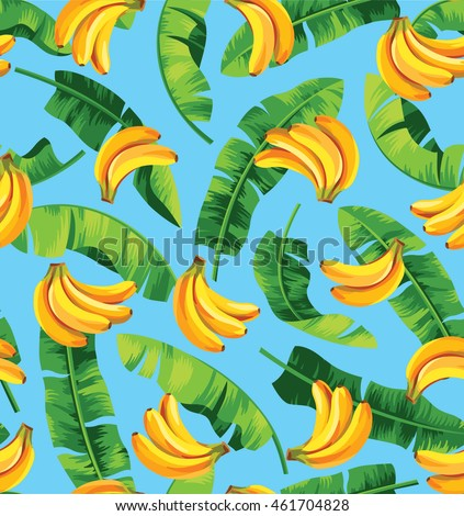 Seamless pattern with banana leaves and bananas. Vector illustration.