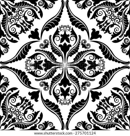 seamless pattern with baroque ornaments - stock vector