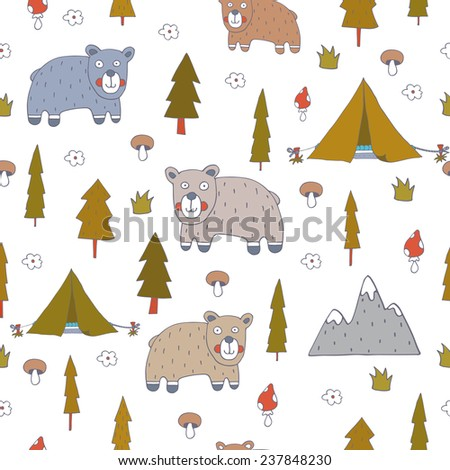 Seamless pattern with bears. EPS 10. No transparency. No gradients.