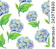 Seamless pattern with Beautiful Hydrangea flowers, watercolor illustration. Vector background. - stock vector