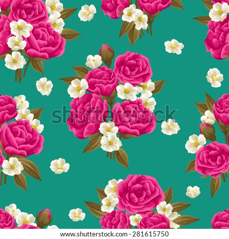 Seamless pattern with beautiful roses in watercolor style - stock vector