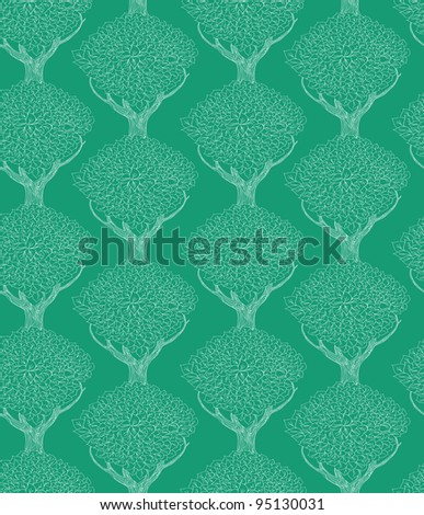 seamless pattern with beautiful trees - vector illustration - stock vector