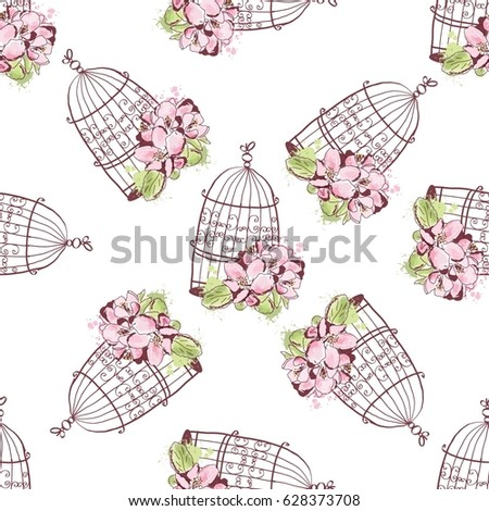 Seamless pattern with beautiful vintage cage with flowers.