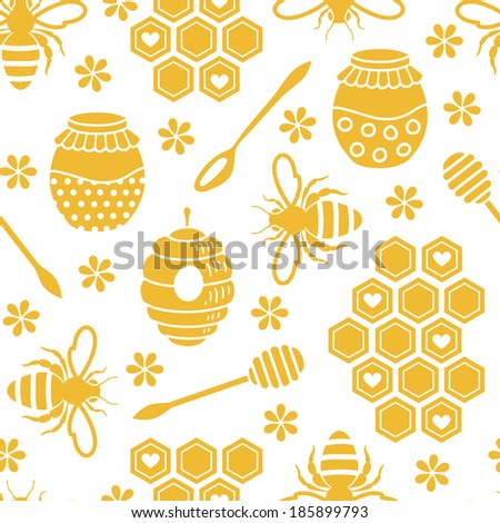 Seamless pattern with bee and honey