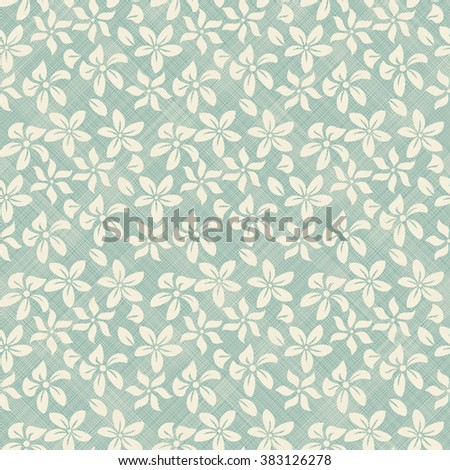seamless pattern with beige flowers on turquoise diagonal texture background - stock vector