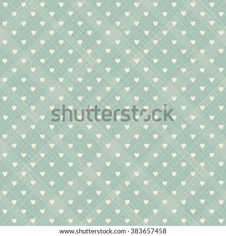 seamless pattern with beige hearts on turquoise diagonal texture background - stock vector