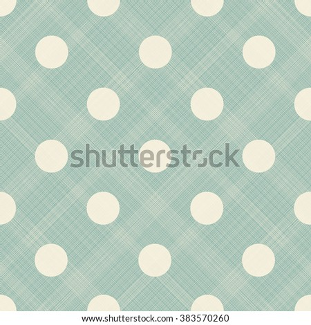 seamless pattern with beige polka dots on turquoise diagonal texture background - stock vector