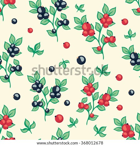 seamless pattern with berries black and red currant