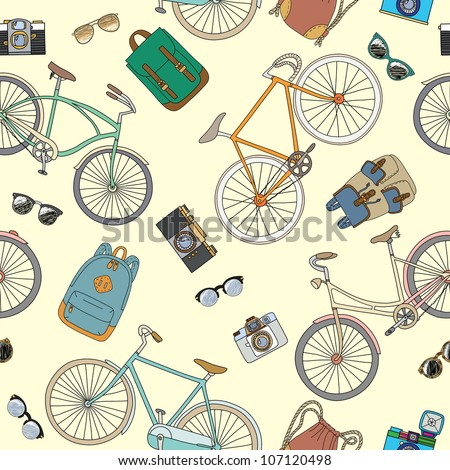 Seamless pattern with bicycles and accessories - stock vector