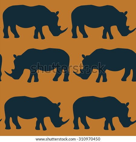 Seamless pattern with big and small african rhino. Abstract wallpaper for your design