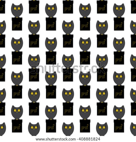 Seamless pattern with big grey owl with large eyes in old-fashioned round spectacles sitting on black cathedra with yellow lettering prof on it isolated on white background. Flat style illustration - stock vector