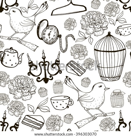 Seamless pattern with  bird, bird cage, pocket watch, candle holder. Vector outline Vintage texture