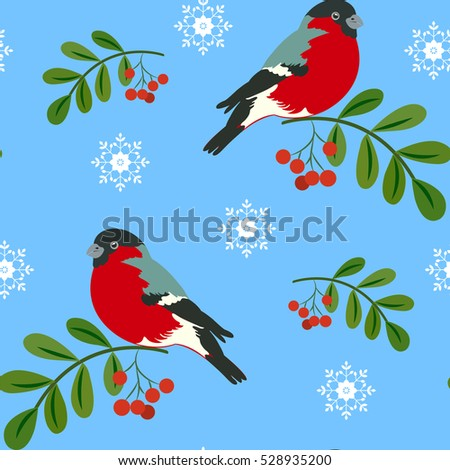 Seamless pattern with bird bullfinch sitting on a branch with berries, snowflakes on a blue background.