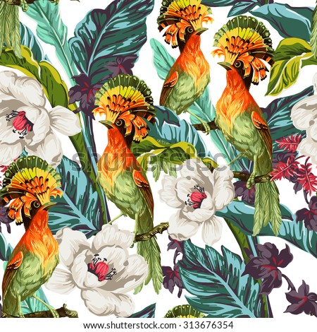 Seamless pattern with bird of Paradise and exotic flowers - stock vector