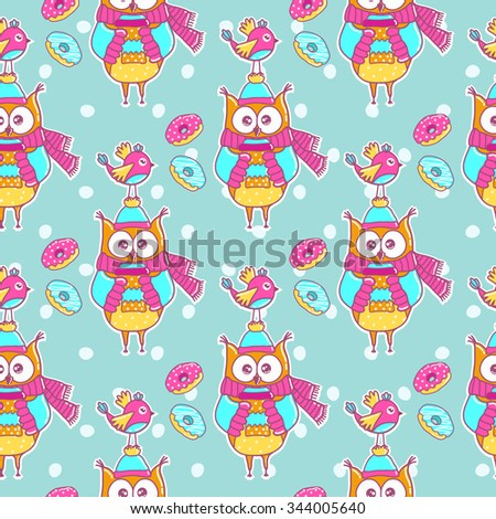 Seamless pattern with bird, owl and cakes - stock vector