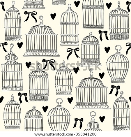Seamless pattern with birdcages. Freehand drawing. Black and white. - stock vector