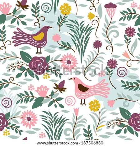 seamless pattern with birds and  - stock vector