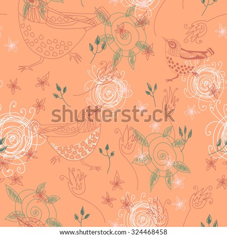 Seamless pattern with birds and flowers. Vector illustration