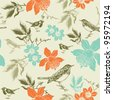 seamless pattern with birds and narcissus - stock vector