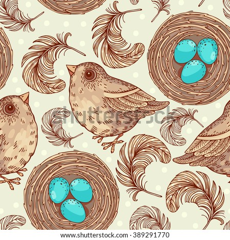 Seamless pattern with birds and nest. Freehand drawing - stock vector