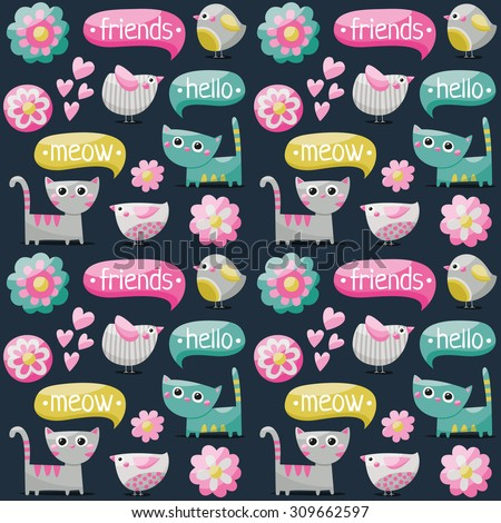 Seamless pattern with birds, cats and flowers for kids
