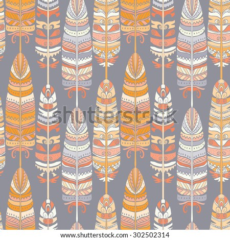 Seamless pattern with birds feathers. Tribal art animal background texture,  boho, vintage  print. Cloth design, wallpaper, wrapping - stock vector