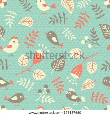 Seamless pattern with birds, flowers and leaves. Vector illustration. - stock vector