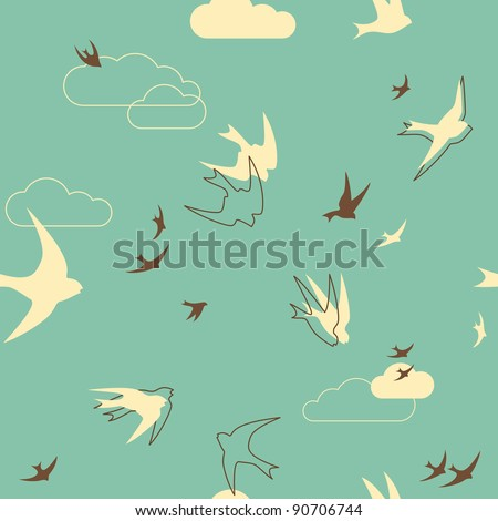 Seamless pattern with birds in retro-style - stock vector