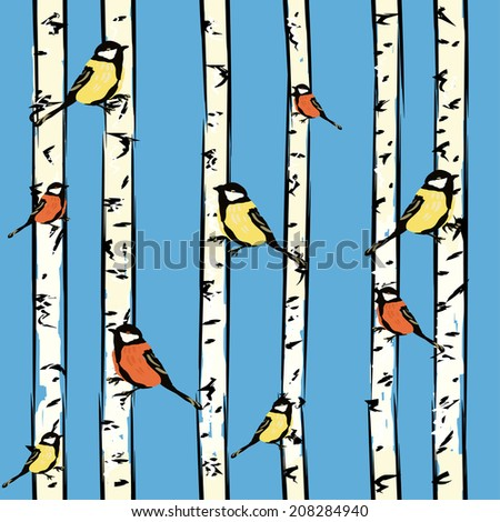 Seamless pattern with birds on birches, vector. - stock vector