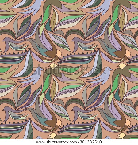 Seamless pattern with birds. Vector background. - stock vector