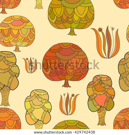 Seamless pattern with bizarre trees. Seamless vector illustration with bizarre trees. Easy editable pattern for your design, wallpaper, background. Hand drawing.  - stock vector