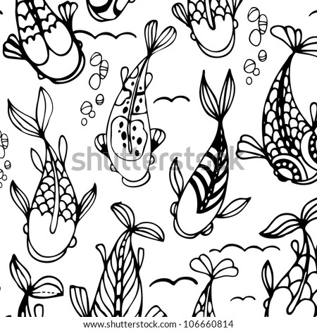 seamless pattern with black and white - stock vector